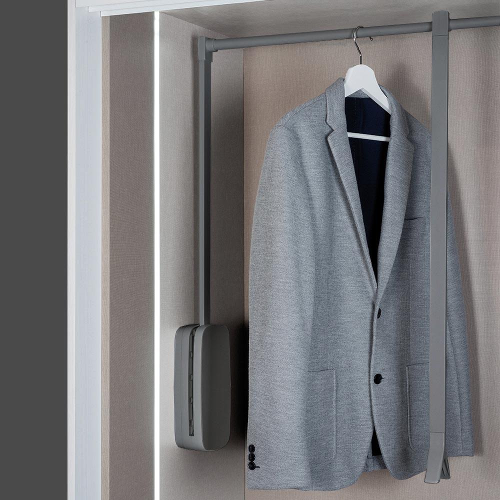 Lift pull down wardrobe rail